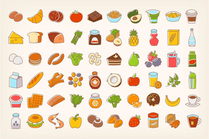 Thumbnail for Colorful Line Stroke Food Icons