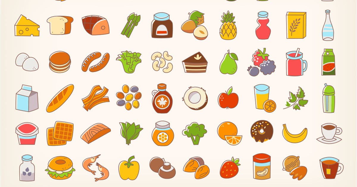 Download Colorful Line Stroke Food Icons by moonery