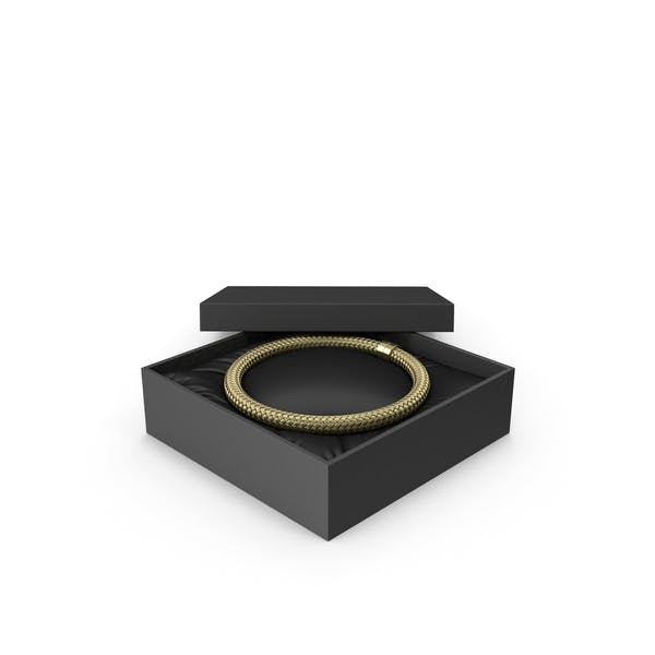 Gold Necklace in a Black Gift Box