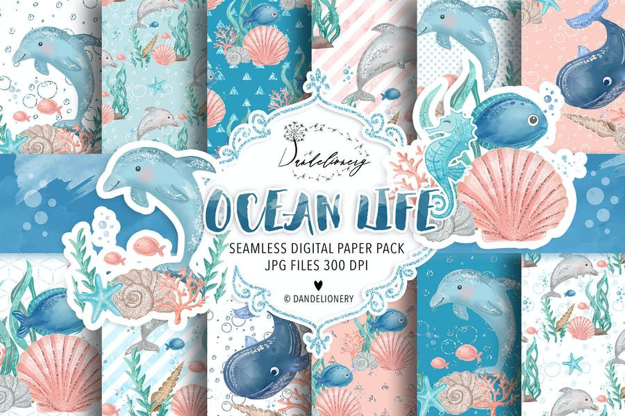 Ocean Life digital paper pack