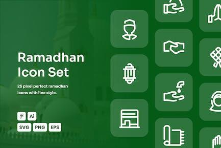 Ramadhan Dashed Line Icon Set
