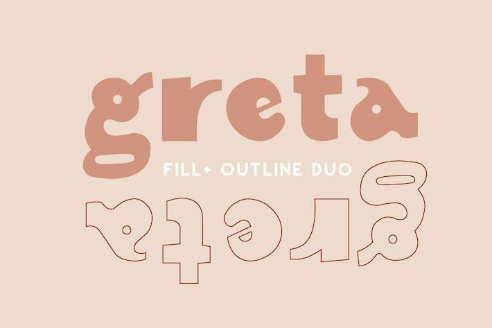 Thumbnail for Greta | Display Font Duo | Rellenar + Contorno