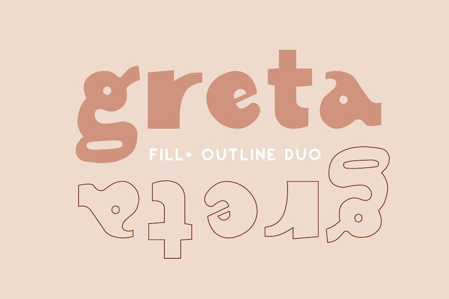 Greta   Display Font Duo   Fill + Outline