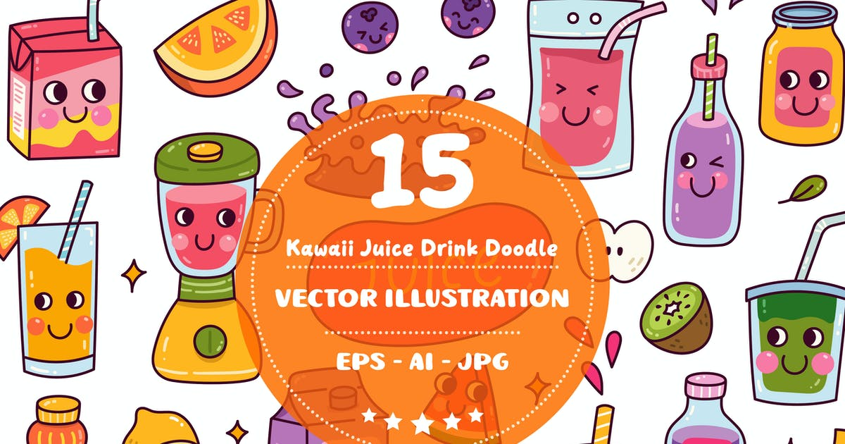 Download Kawaii Juice Drink Doodle Set by GoDoodle