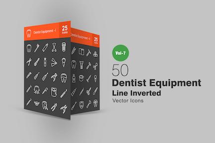 50 Dentist Equipment Line Inverted Icons