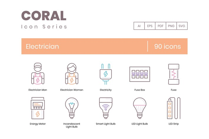 90 Electrician Line Icons