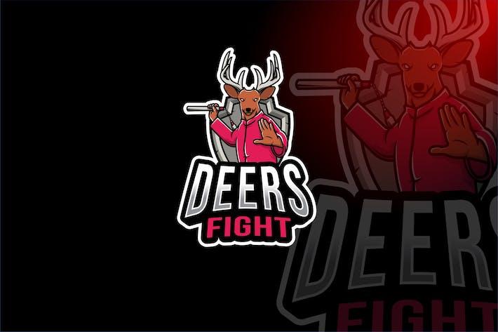 Thumbnail for Deer Fight Esport Logo Template