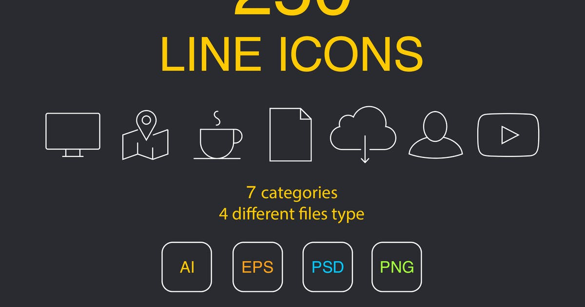Download 250 Line Icons by Unknow