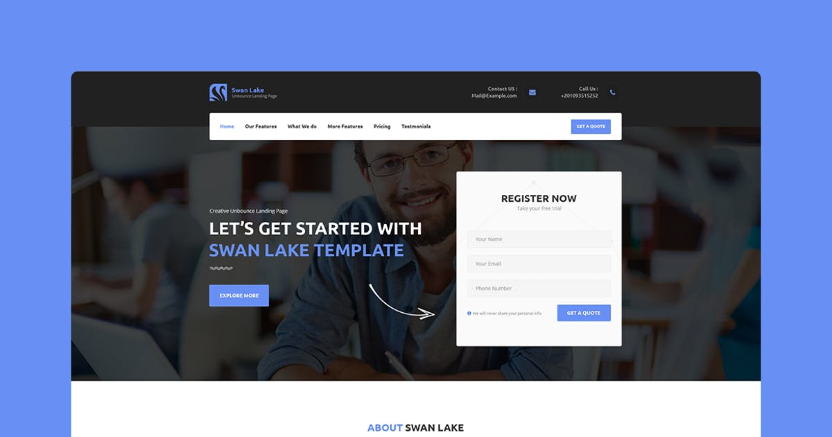 Swan Lake - CMS Unbounce Template by Morad