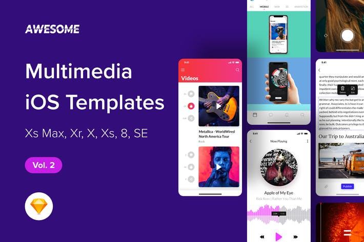 Thumbnail for Awesome iOS UI Kit - Multimedia Vol. 2 (Sketch)