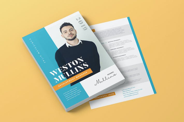 Cover Image For Clean Minimalist CV Resume AI and PSD Flyer Vol.27