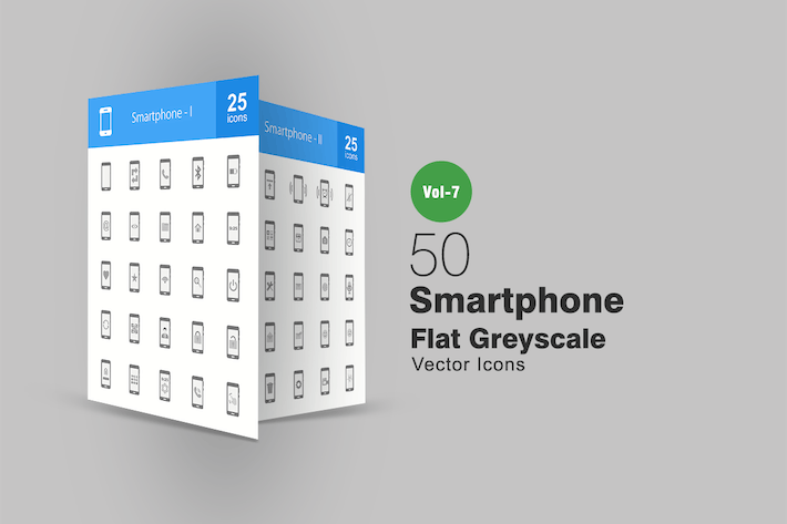 Cover Image For 50 Smartphone Flat Greyscale Icons