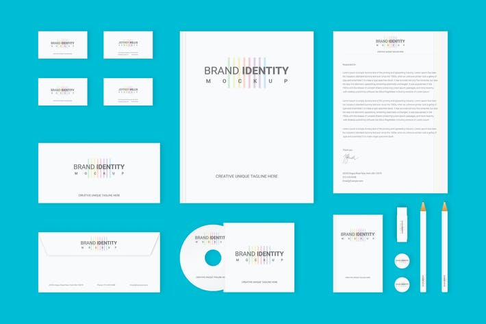 Thumbnail for Branding Identity Set : Colored Lines v2 for Psd