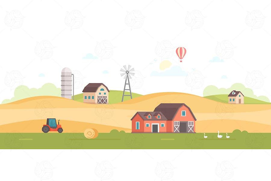 Landschaft - flaches Design Stil Illustration