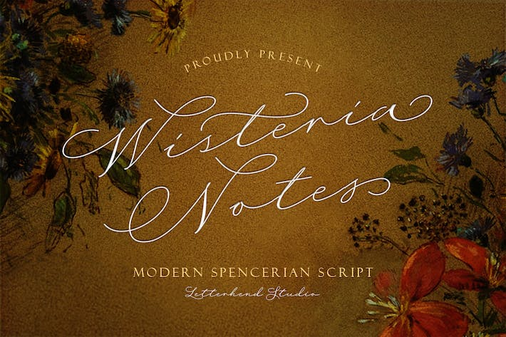Thumbnail for Wisteria Notes - Fuente de escritura moderna