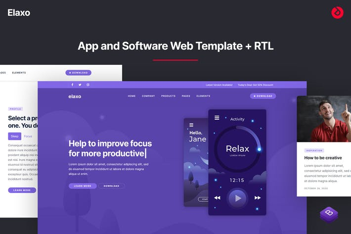 Thumbnail for Elaxo - App and Software Website Template + RTL