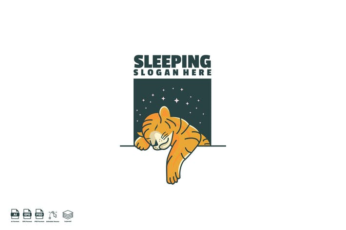 Thumbnail for Sleeping tiger Logo template