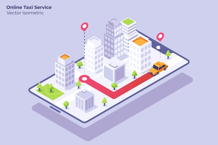 Online Taxi Service - Vector Illustration