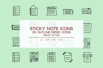 Outline Sticky Note Icons set