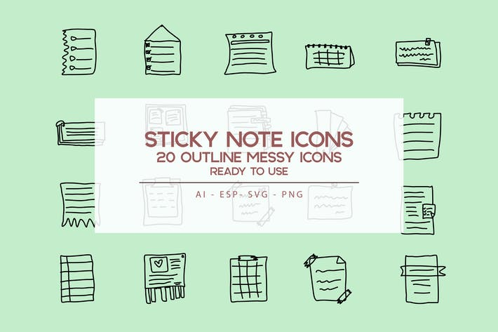 Thumbnail for Outline Sticky Note Icons set