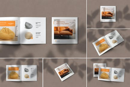 Quadratische Broschüre Katalog Mock-ups