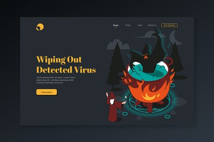 Wiping Out Detected Virus - Isometric Landing Page