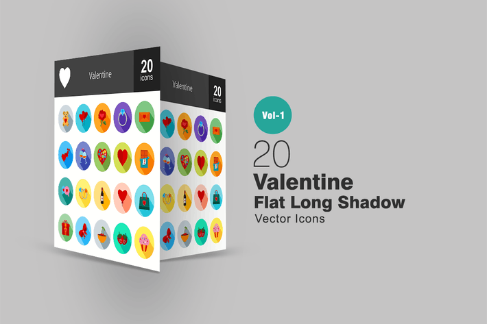 Thumbnail for 20 Valentine Flat Long Shadow Icons