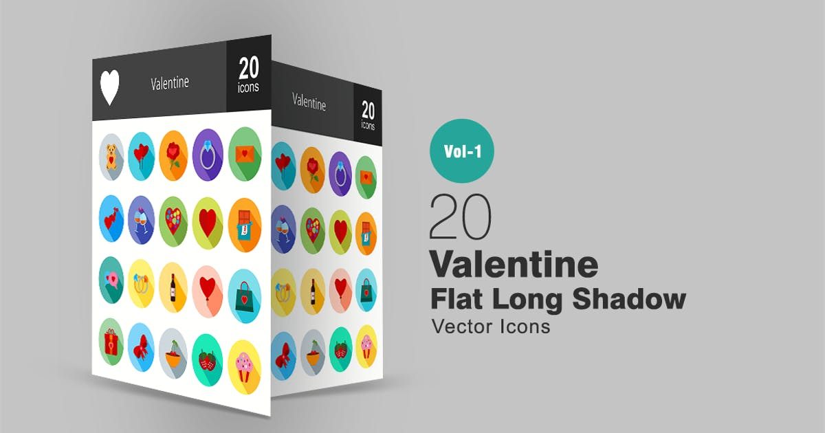 20 Valentine Flat Long Shadow Icons by IconBunny