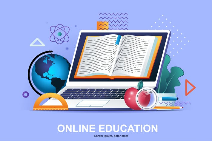Thumbnail for Online Education Flat Concept Vector Illustration
