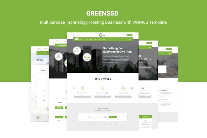 Thumbnail for GREENSSD | Technology, Hosting with WHMCS Template