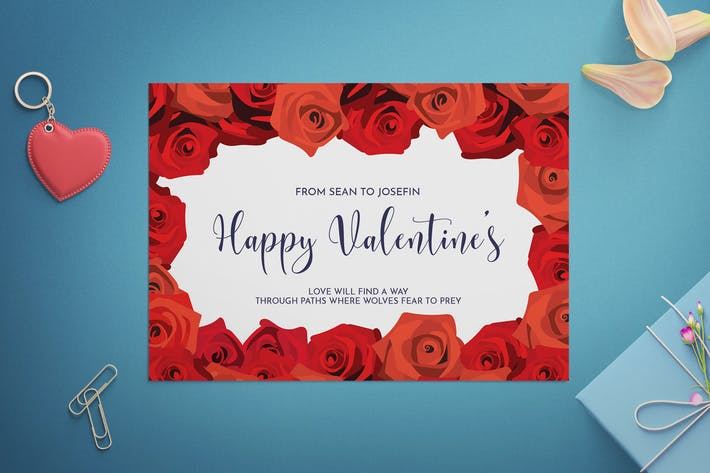 Thumbnail for Floral Valentine's Day Card Template
