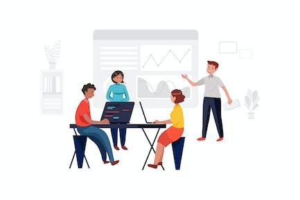 Team arbeitet an Projekt im Geschäftsbüro