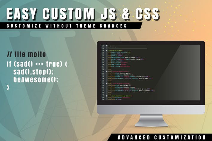 Cover Image For Easy Custom JS and CSS for WordPress