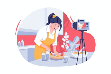 Young woman in kitchen recording video on camera