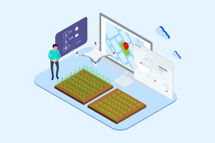 Thumbnail for Automatic Watering with Drones Isometric - T2