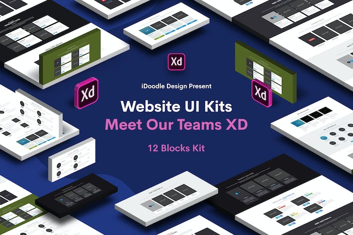 Thumbnail for Website UI Kits Meet Our Teams - 12 Blocks