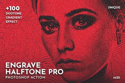 Engrave Halftone Pro Photoshop Action