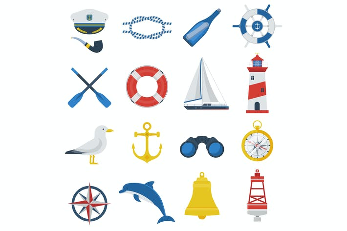 Thumbnail for Sea Travel Icon Set