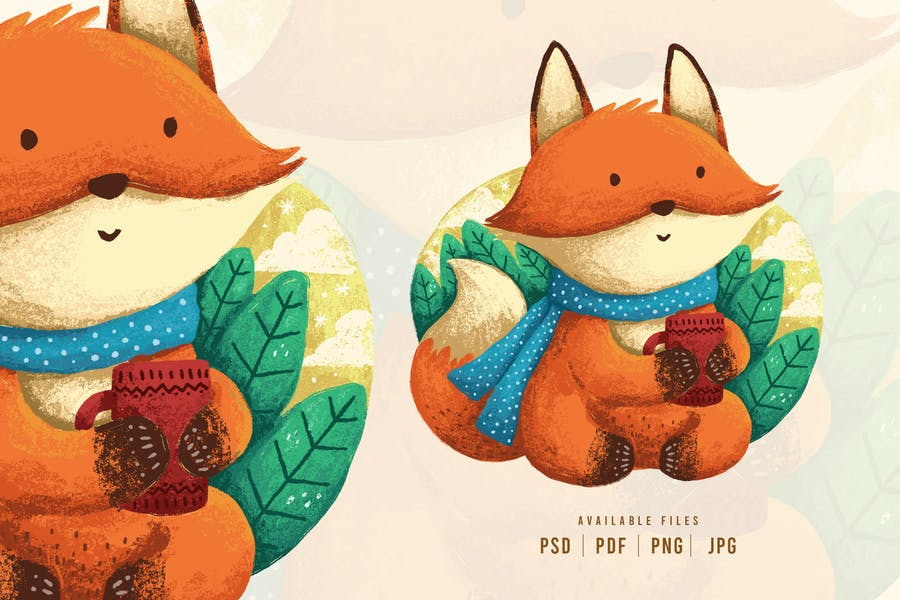 Motif personnage de renard mignon