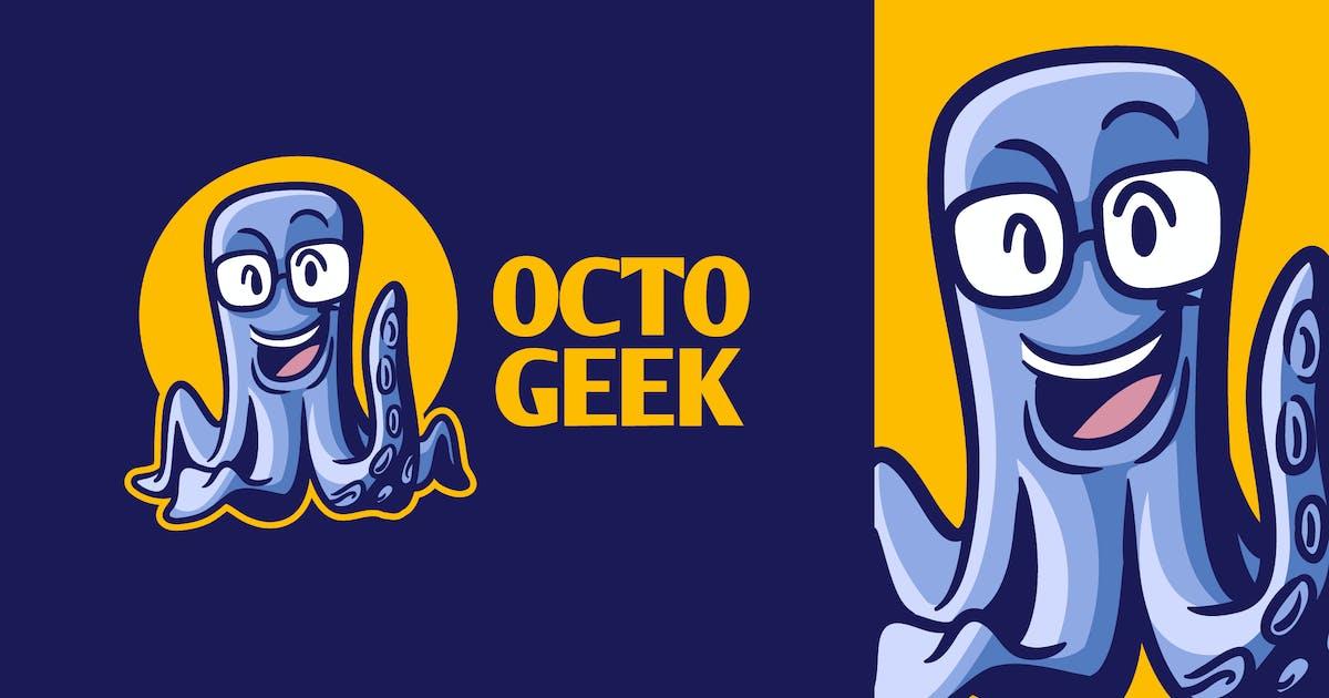 Download Cartoon Smart Geek Octopus Character Mascot Logo by Suhandi