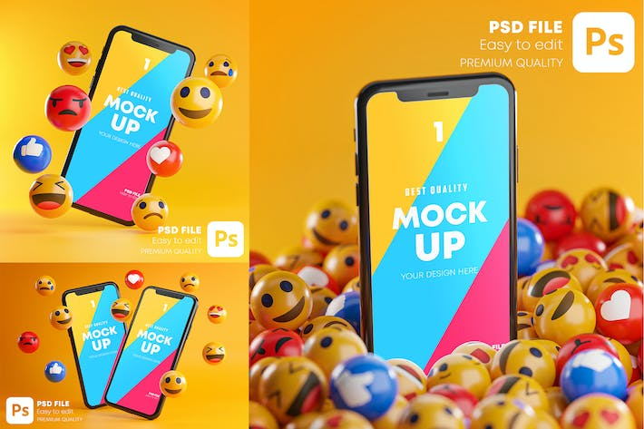 Thumbnail for Smartphone Emoji Mockup Pack