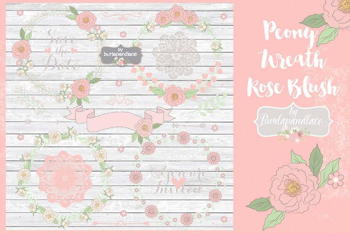 Thumbnail for Peony Wreath Rose Blush Vector