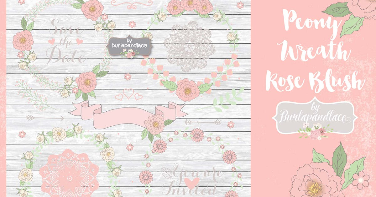 Download Peony Wreath Rose Blush Vector by burlapandlace