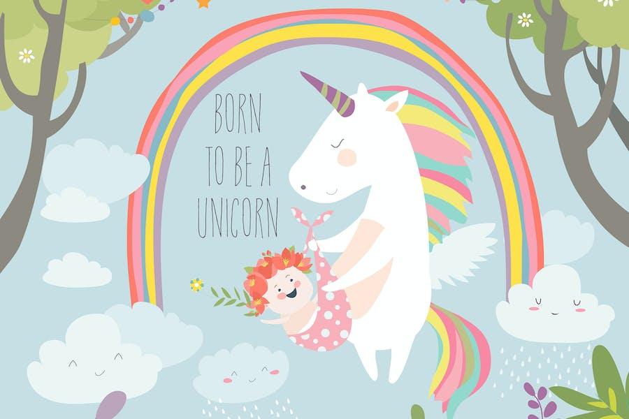 Lindo unicornio sosteniendo bebé.Nacido para ser un unicornio.
