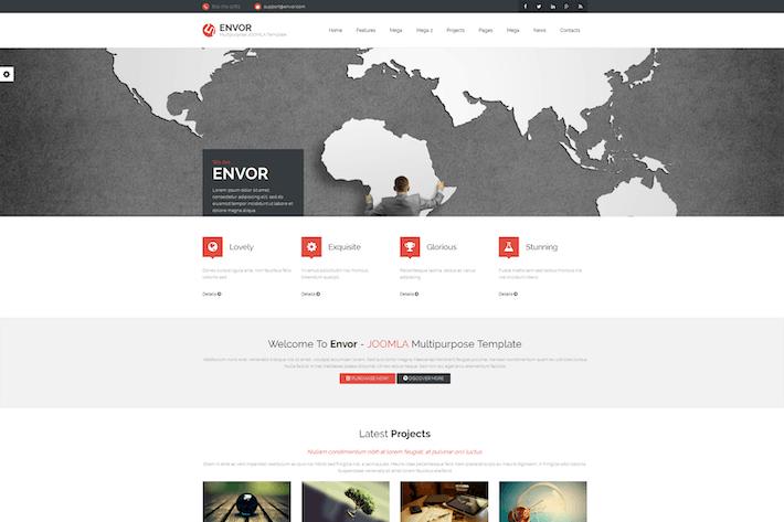 Thumbnail for Envor — Полностью многоцелевой Шаблон Joomla