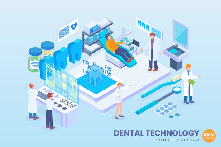 Thumbnail for Isometric Dental Technology Vector Concept