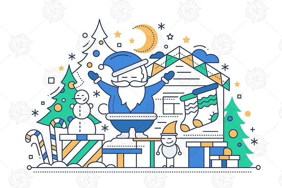 Merry Christmas - Line Design Greeting Card