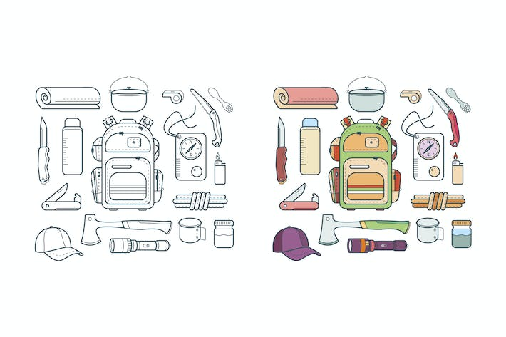 Thumbnail for vector set of hiking and adventure icons