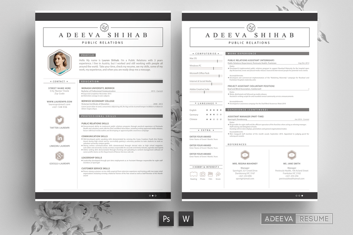 Thumbnail for Modern Resume Template Shihab