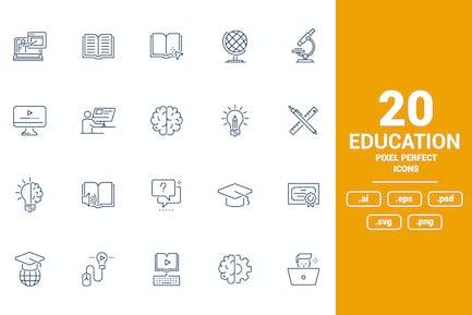 Flat line icons design - Education